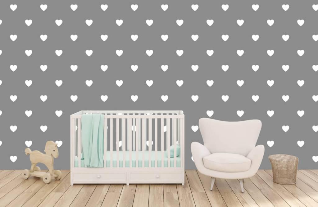Papier peint bébé - Petits cœurs blancs - Chambre de bébé 6