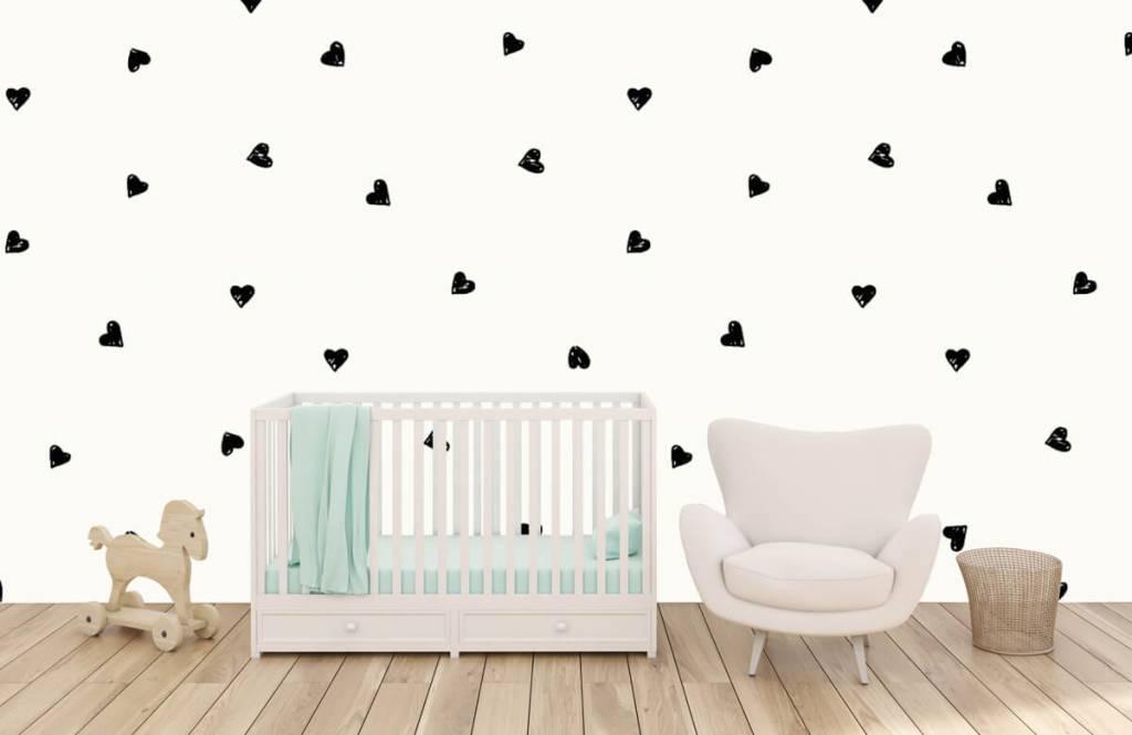 Papier peint enfants - Petits cœurs noirs - Chambre des enfants 1