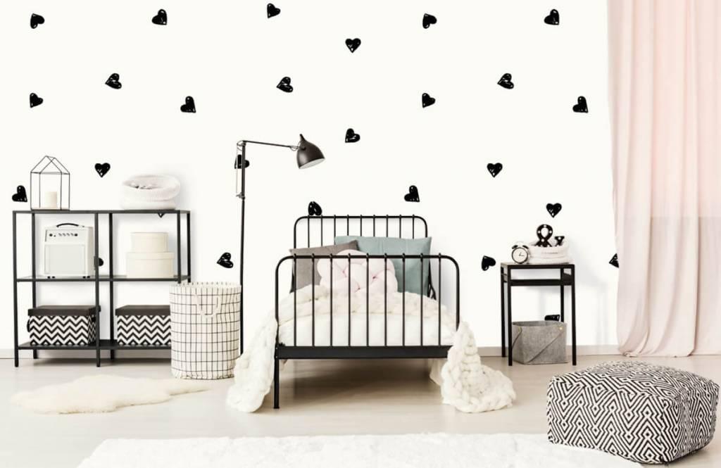 Papier peint enfants - Petits cœurs noirs - Chambre des enfants 2