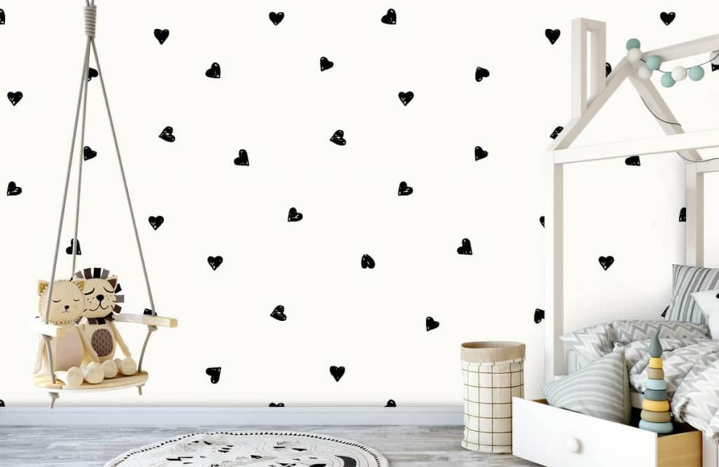 Papier peint enfants - Petits cœurs noirs - Chambre des enfants 4