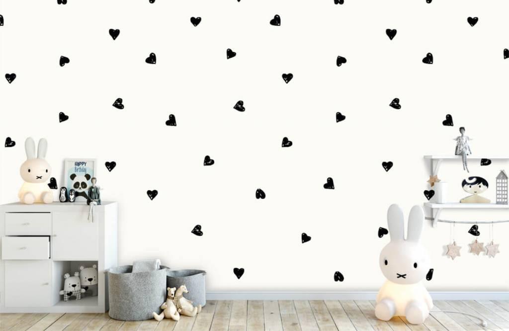 Papier peint enfants - Petits cœurs noirs - Chambre des enfants 5