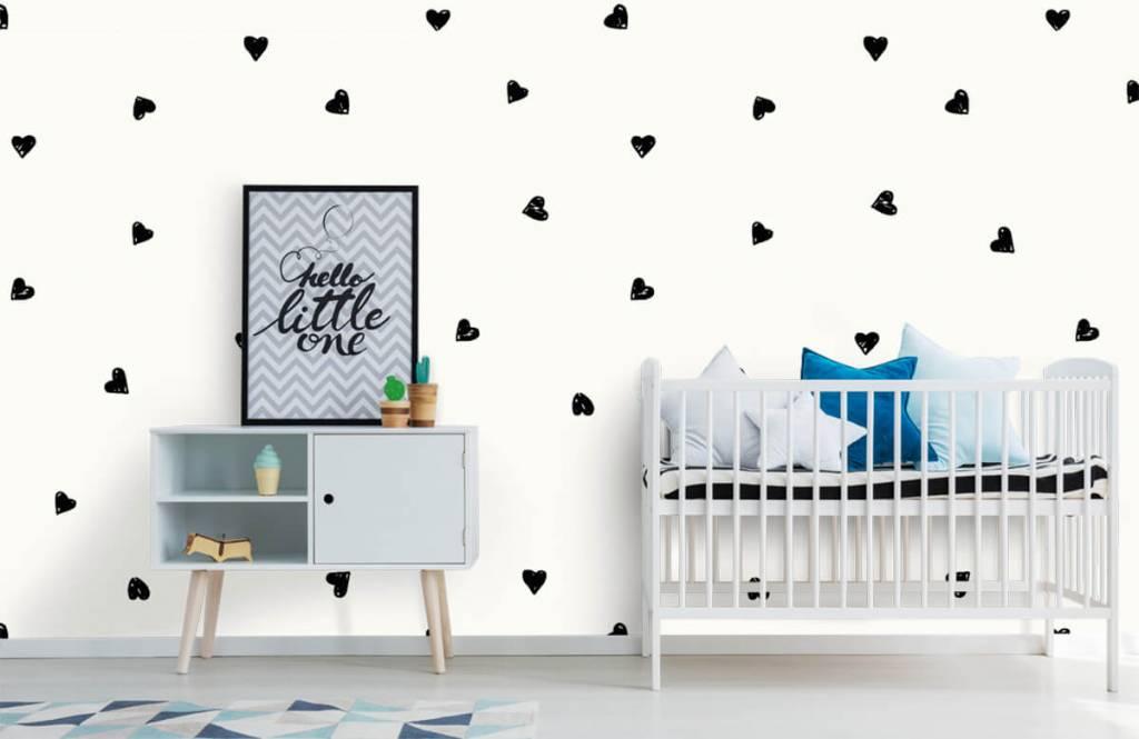 Papier peint enfants - Petits cœurs noirs - Chambre des enfants 6