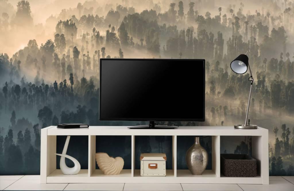 Papier peint Paysage - Montagnes brumeuses en Indonésie - Chambre à coucher 4