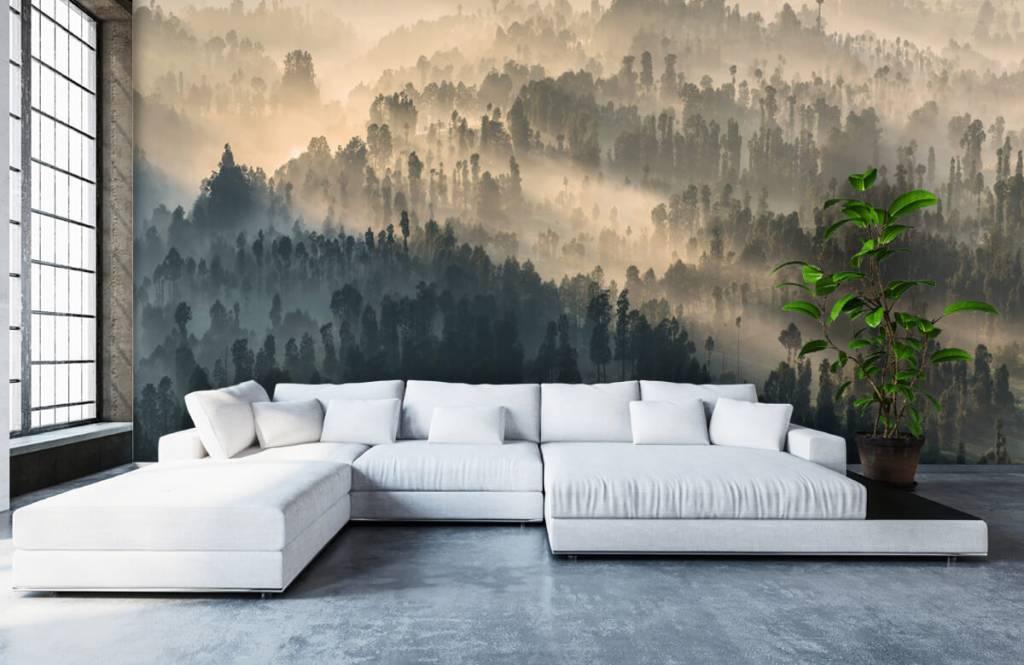Papier peint Paysage - Montagnes brumeuses en Indonésie - Chambre à coucher 5