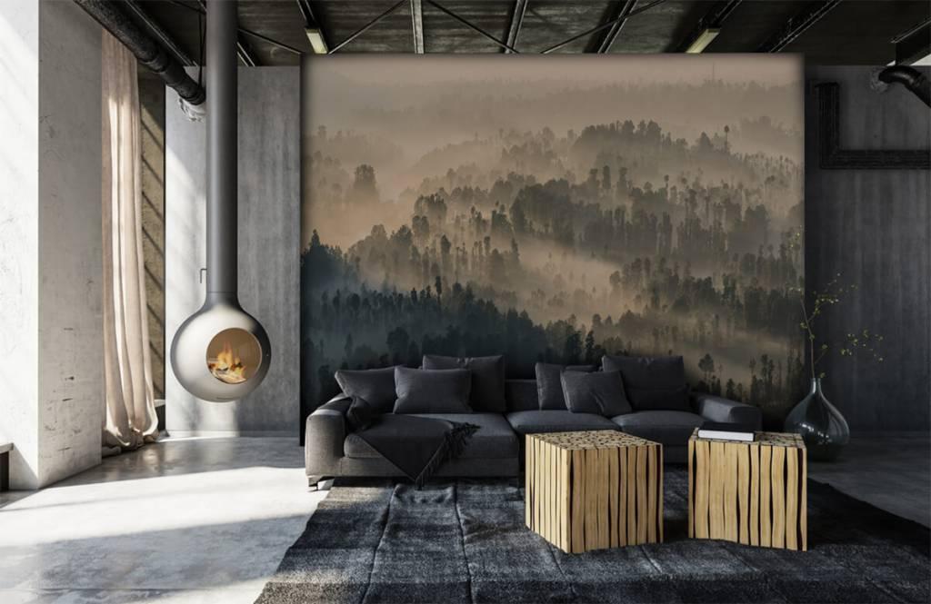 Papier peint Paysage - Montagnes brumeuses en Indonésie - Chambre à coucher 6