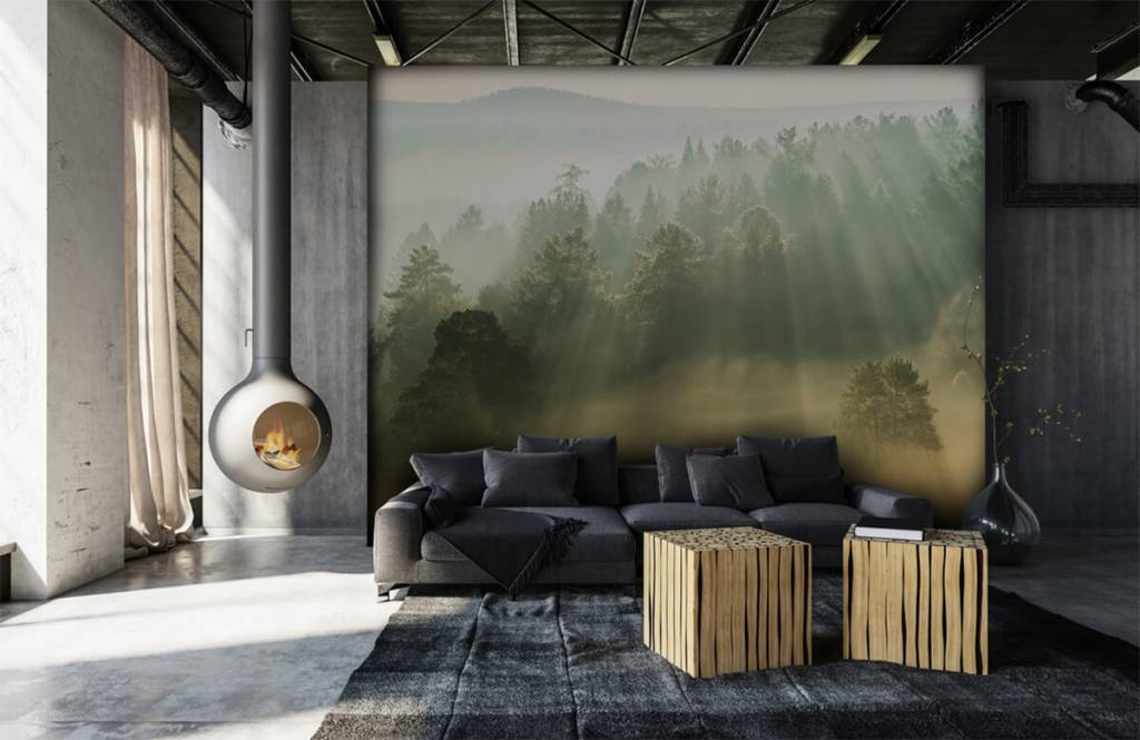 Papier peint Paysage - Lever de soleil entre les collines - Chambre à coucher 6