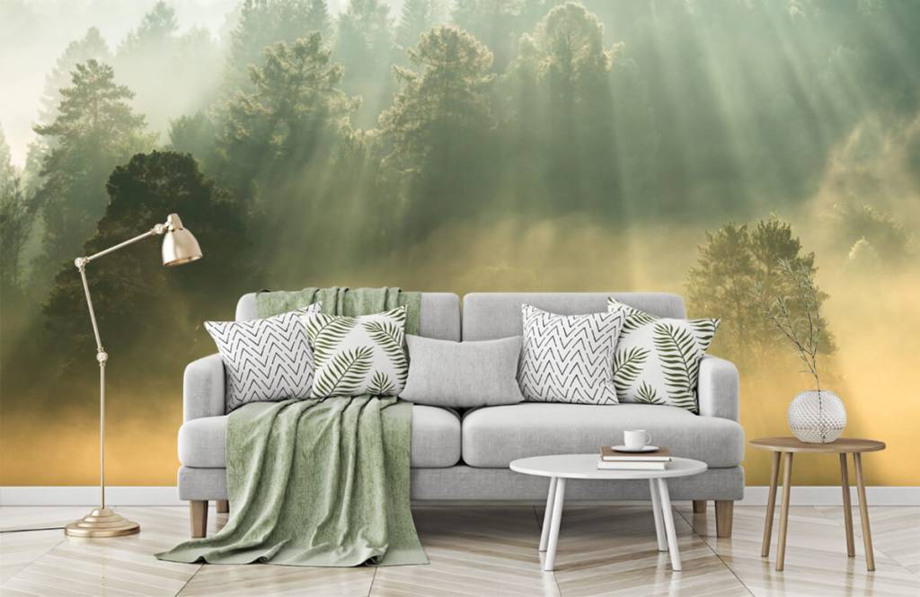 Papier peint Paysage - Lever de soleil entre les collines - Chambre à coucher 7