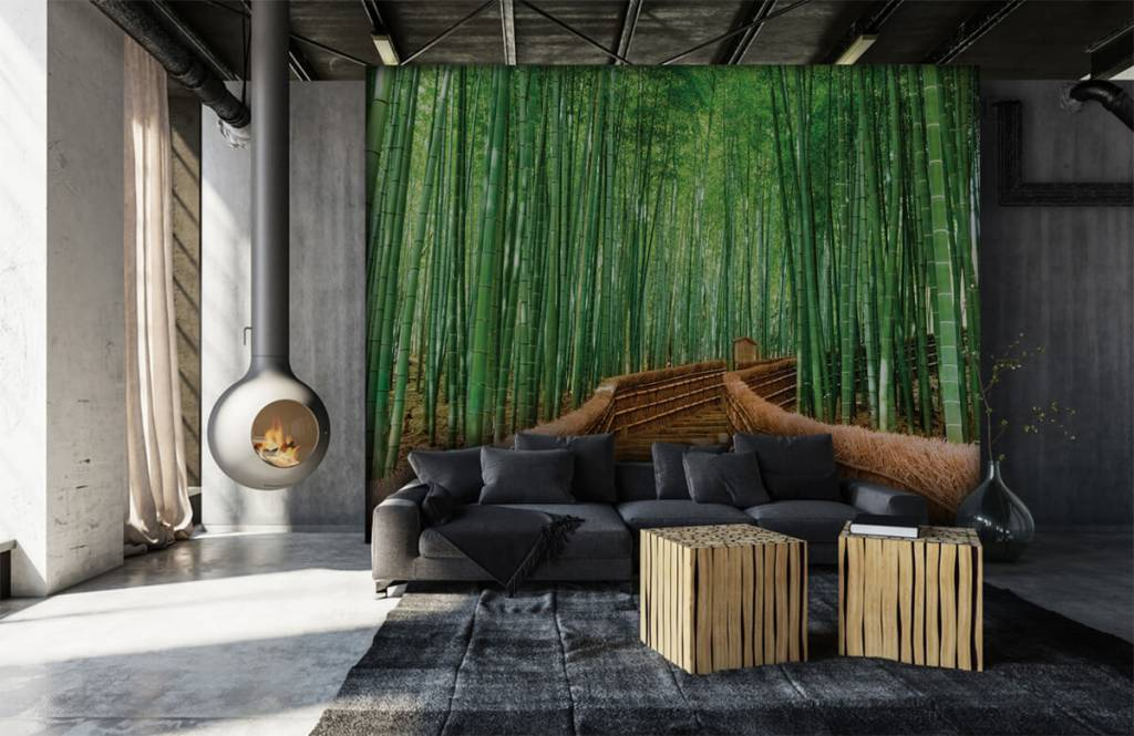 Papier peint Paysage - Escalier entre les plantes de bambou - Salle de séjour 3