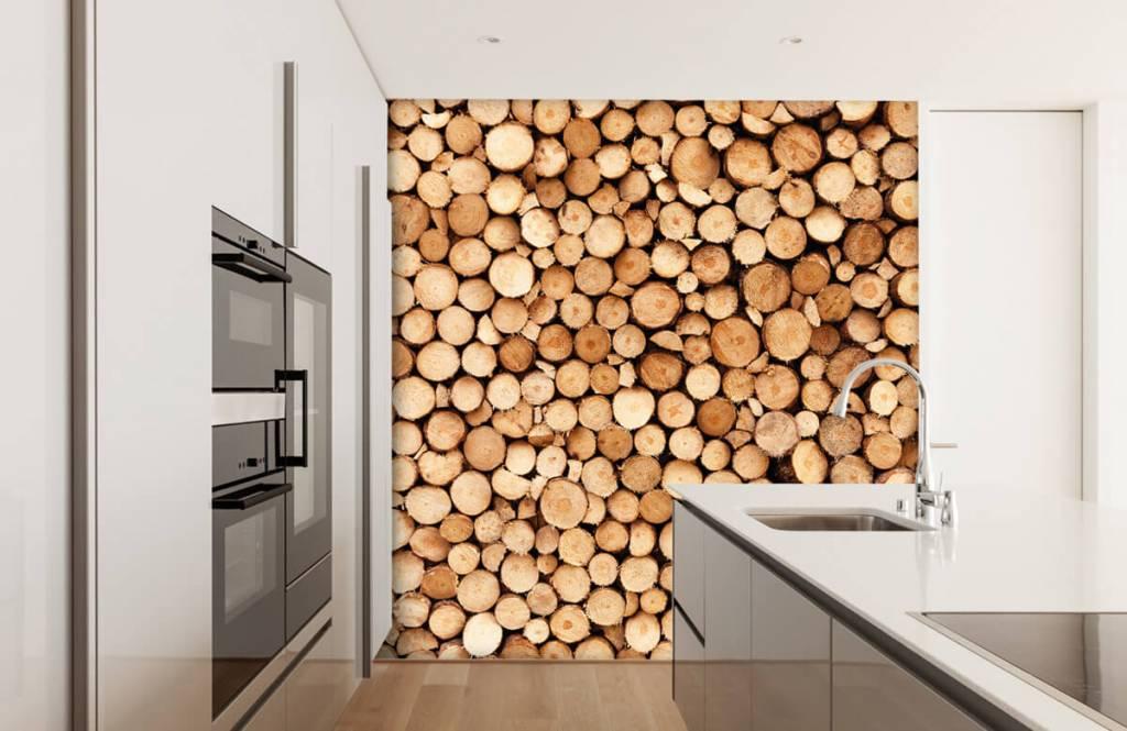 Papier peint en bois - Bois de feu- Salle de séjour 1