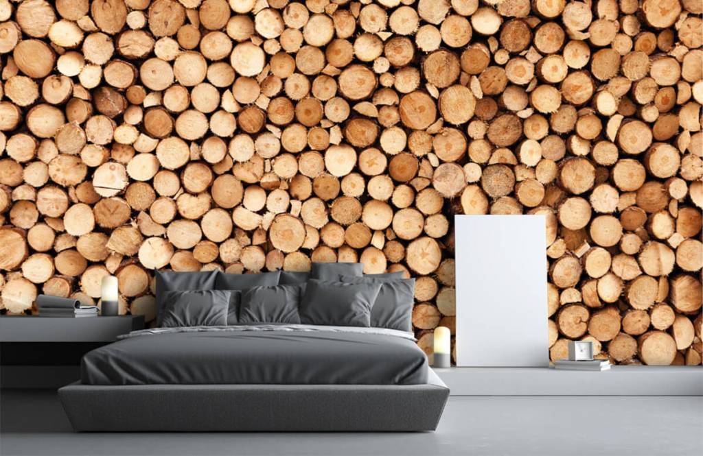 Papier peint en bois - Bois de feu- Salle de séjour 4