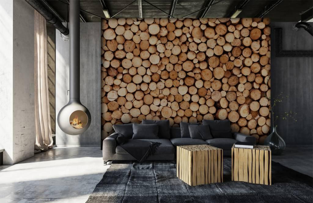 Papier peint en bois - Bois de feu- Salle de séjour 5
