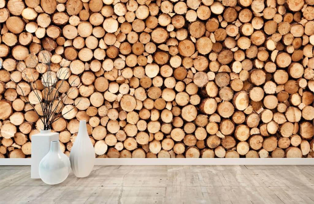 Papier peint en bois - Bois de feu- Salle de séjour 8