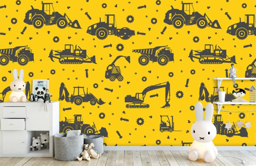 Papier peint garçons - Jaune de construction jaune - Chambre des enfants 1