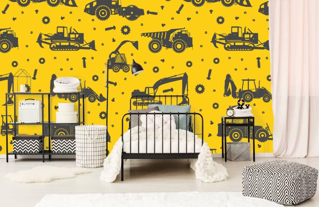 Papier peint garçons - Jaune de construction jaune - Chambre des enfants 2