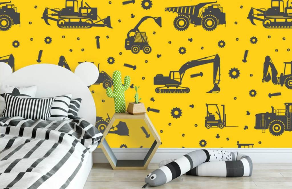 Papier peint garçons - Jaune de construction jaune - Chambre des enfants 3