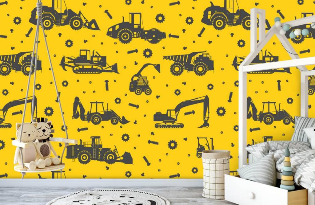 Papier peint garçons - Jaune de construction jaune - Chambre des enfants 4