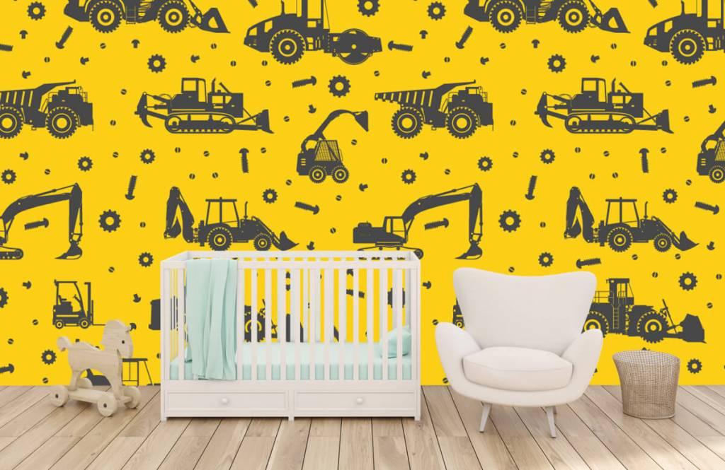 Papier peint garçons - Jaune de construction jaune - Chambre des enfants 5