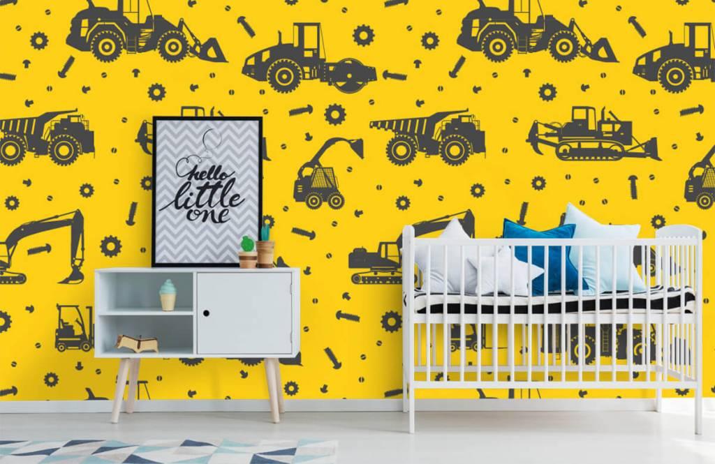 Papier peint garçons - Jaune de construction jaune - Chambre des enfants 6