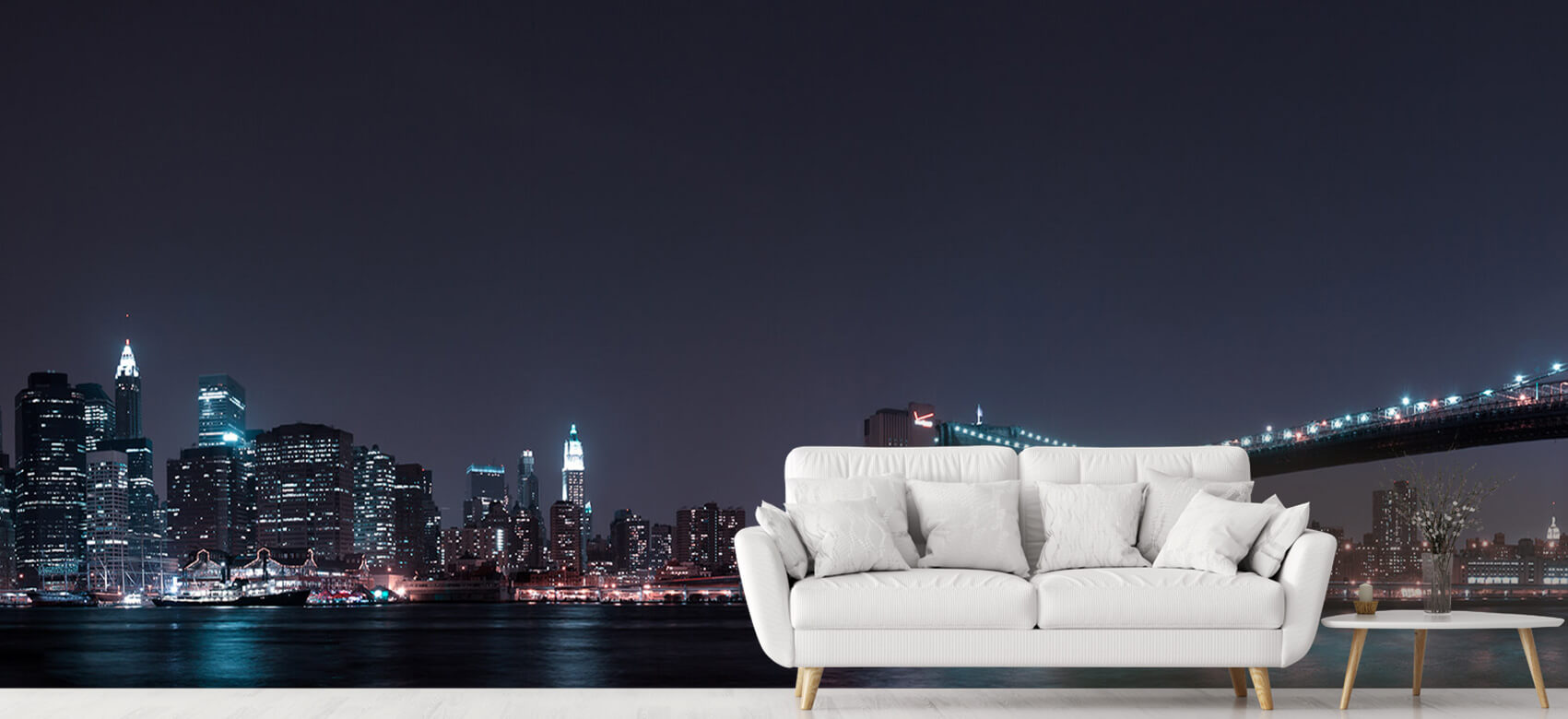 Nacht Manhattan Skyline and Brooklyn Bridge 5
