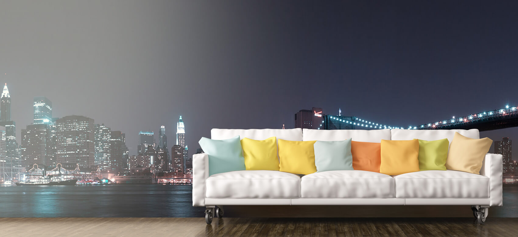 Nacht Manhattan Skyline and Brooklyn Bridge 10