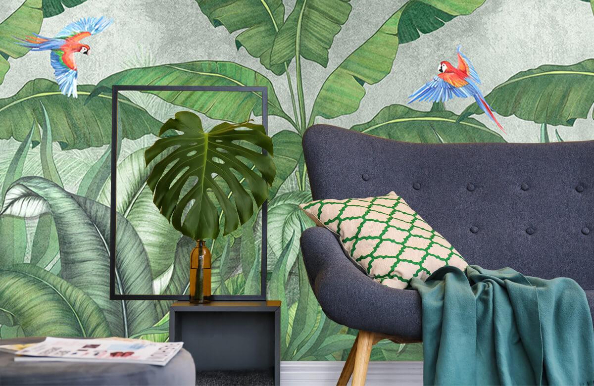 Feuilles tropicales sur du béton 10